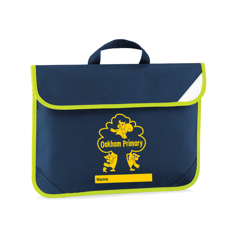 Hi Viz trimmed book bag with School logo embroidered.