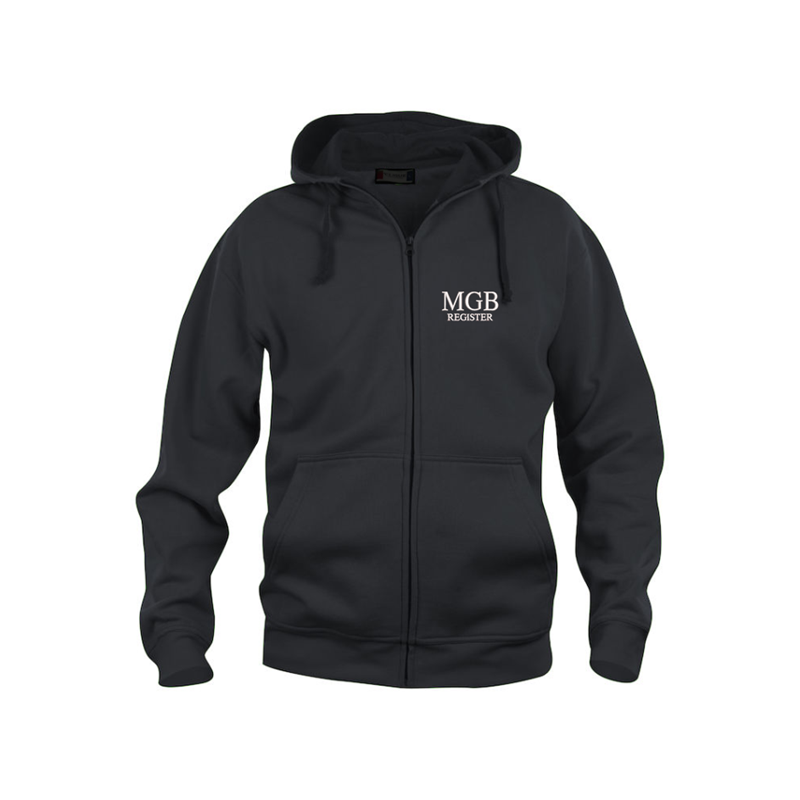 Classic fit zipped hoodie, MGB hex logo to left breast, embroidered