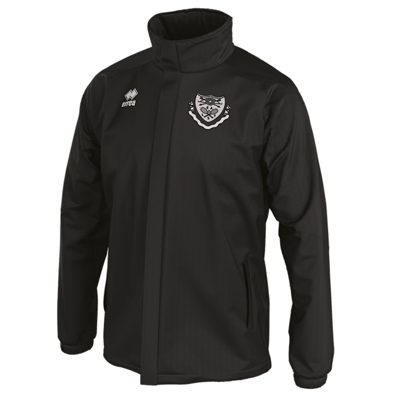 Errea Waterpoof Jacket in Black. Embroidered club logo to left breast. Sizes Youths X Small to 4XL Adults.