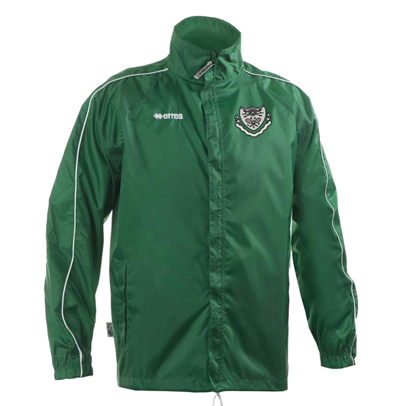 Errea Shower  Jacket in Green. Embroidered club logo to left breast. Sizes Youths X Small to 4XL Adults.